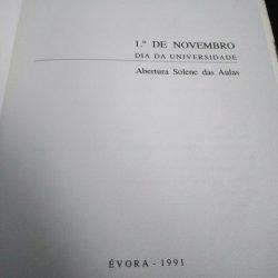 1.º de Novembro – Dia da Universidade (Abertura solene das aulas – Universidade de Évora) -